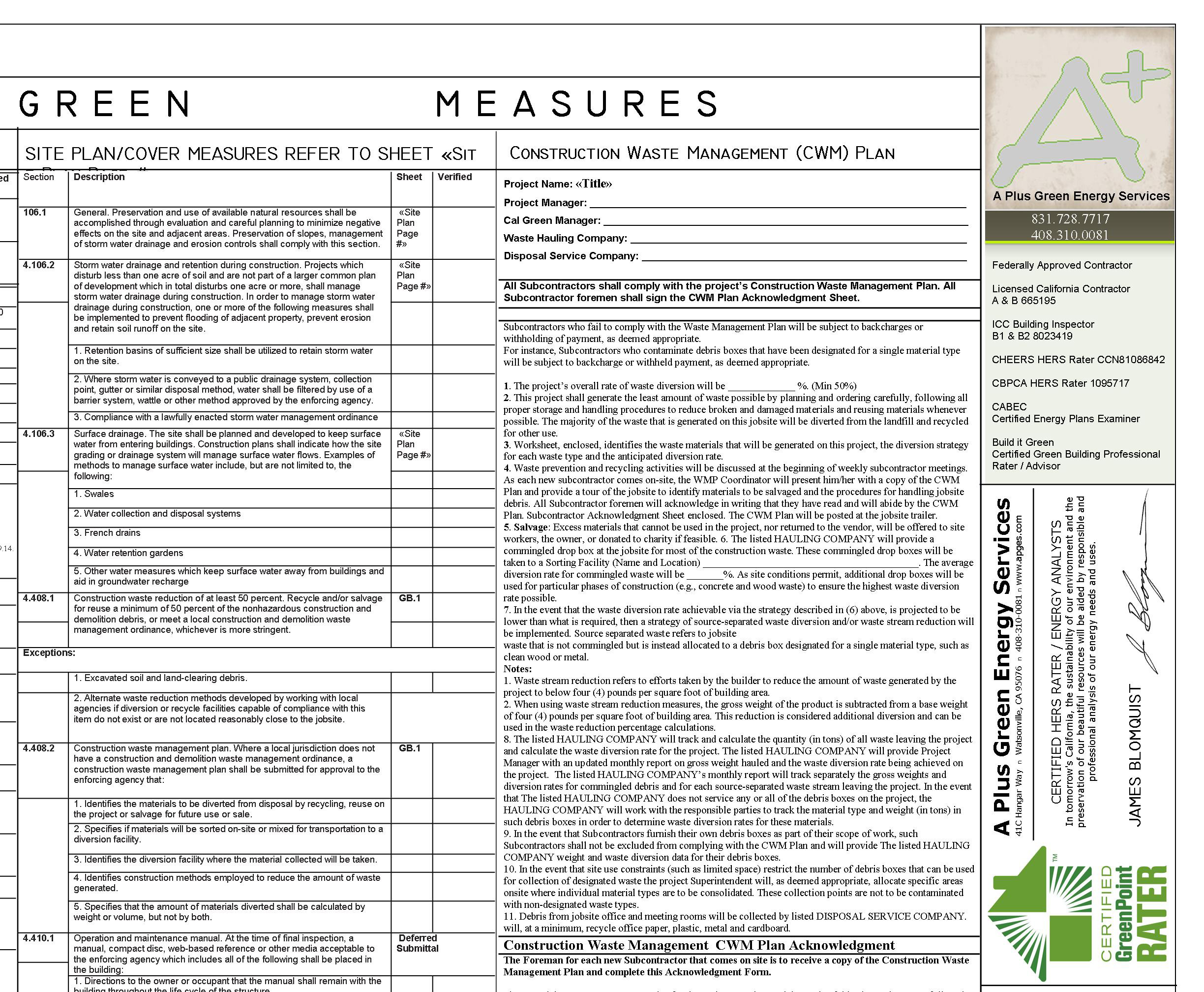 Cal Green Sheet
